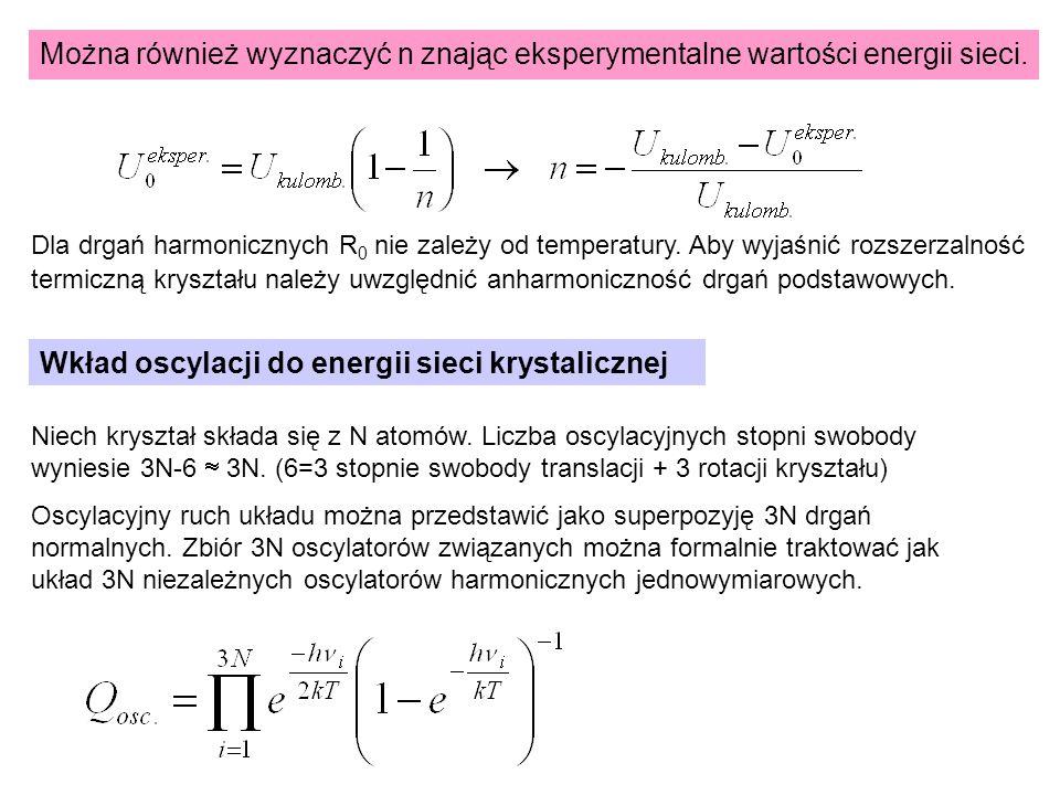 Można również wyznaczyć n znając eksperymentalne wartości energii sieci. Wkład oscylacji do energii sieci krystalicznej Niech kryształ składa się z N