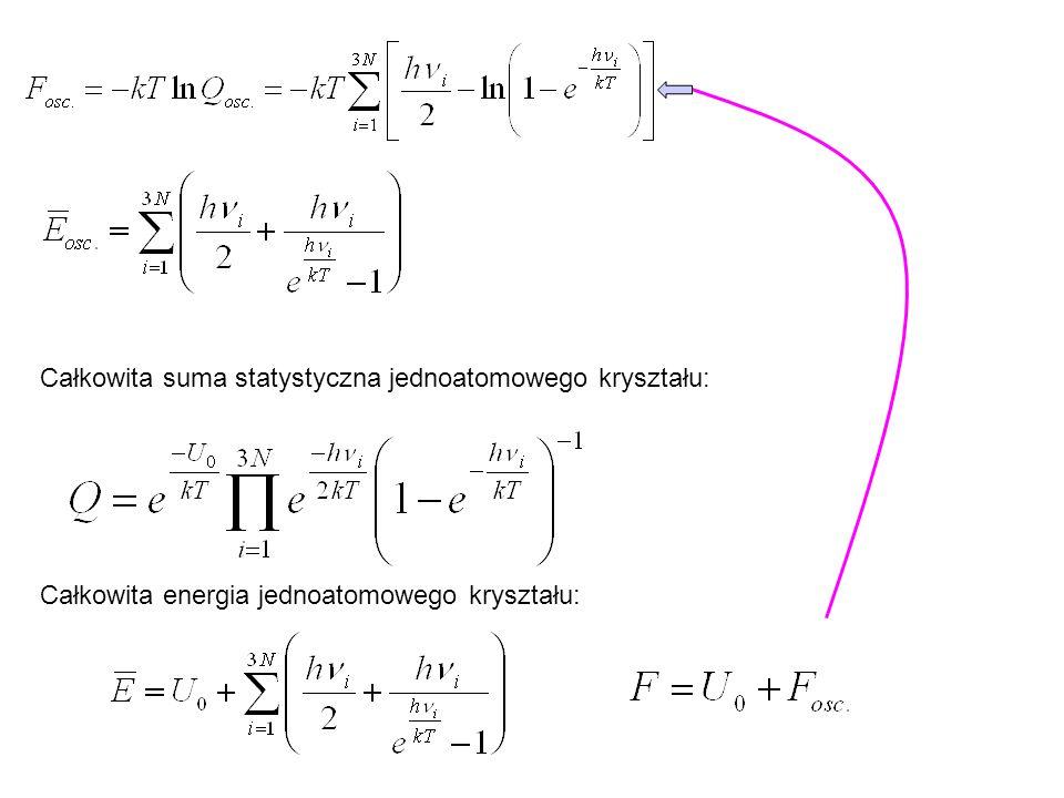 Ciepło właściwe kryształów jednoatomowych (przybliżenie harmoniczne) Będziemy zakładali, że U 0 i częstości i nie zależą od temperatury.