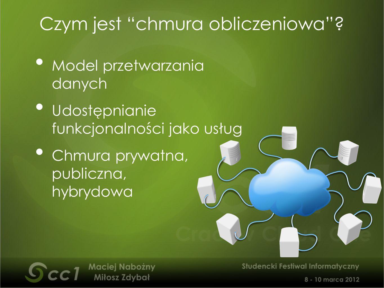 """Model przetwarzania danych Udostępnianie funkcjonalności jako usług Chmura prywatna, publiczna, hybrydowa Czym jest """"chmura obliczeniowa""""?"""