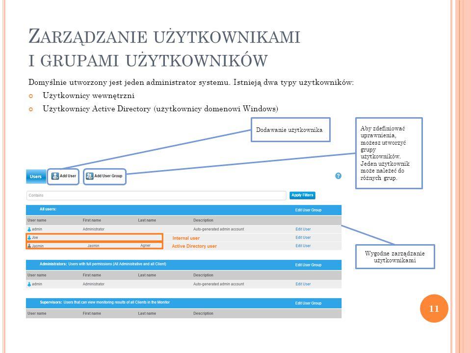 Z ARZĄDZANIE UŻYTKOWNIKAMI I GRUPAMI UŻYTKOWNIKÓW Domyślnie utworzony jest jeden administrator systemu.