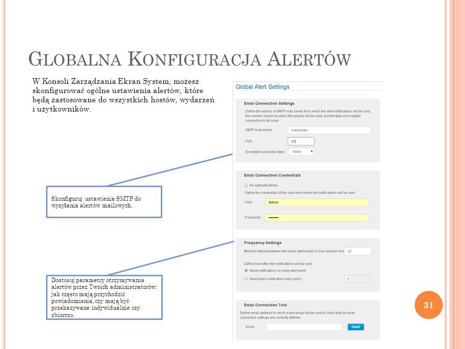 G LOBALNA K ONFIGURACJA A LERTÓW 31 W Konsoli Zarządzania Ekran System, możesz skonfigurować ogólne ustawienia alertów, które będą zastosowane do wszystkich hostów, wydarzeń i użytkowników.