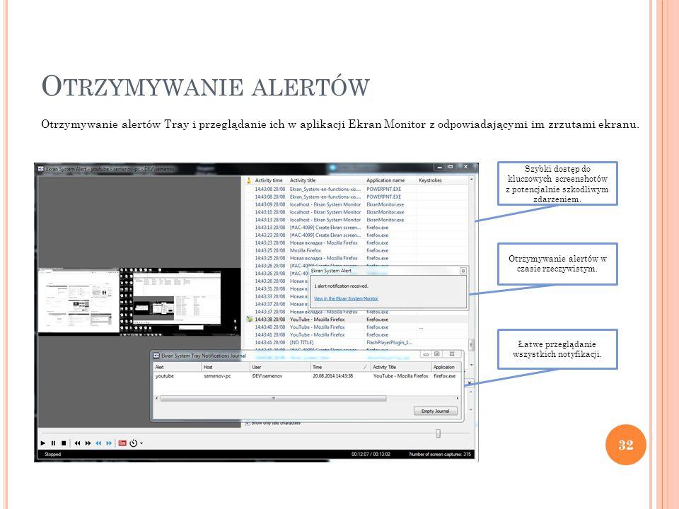 O TRZYMYWANIE ALERTÓW 32 Otrzymywanie alertów Tray i przeglądanie ich w aplikacji Ekran Monitor z odpowiadającymi im zrzutami ekranu.