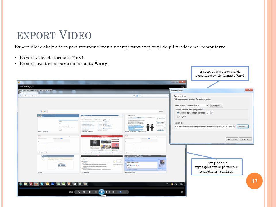 Przeglądanie wyeksportowanego video w zewnętrznej aplikacji.
