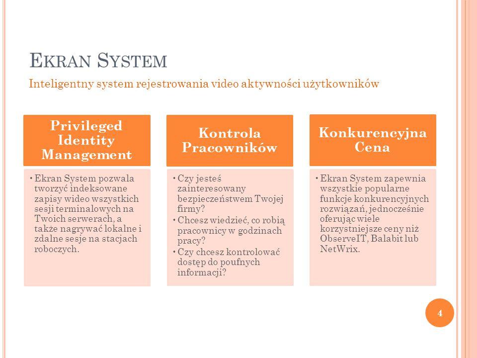 E KRAN S YSTEM 5 Ekran System to rozwiązanie dla zdalnego monitoringu czynności użytkowników.