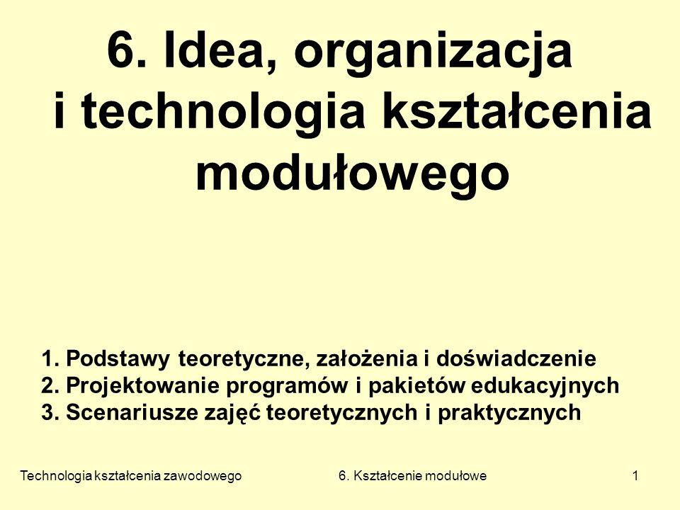 Technologia kształcenia zawodowego 6. Kształcenie modułowe1 6.