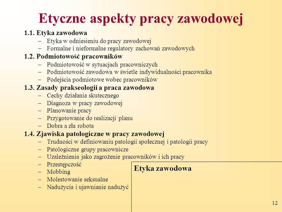 12 Etyczne aspekty pracy zawodowej 1.1. Etyka zawodowa –Etyka w odniesieniu do pracy zawodowej –Formalne i nieformalne regulatory zachowań zawodowych