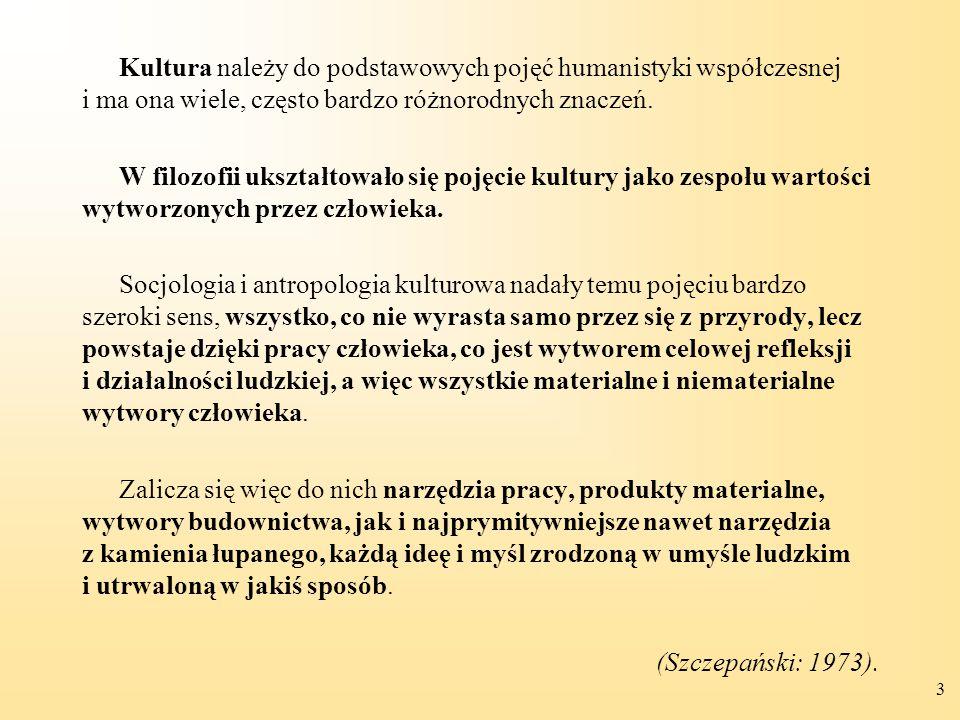 3 Kultura należy do podstawowych pojęć humanistyki współczesnej i ma ona wiele, często bardzo różnorodnych znaczeń. W filozofii ukształtowało się poję