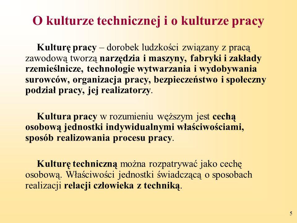 5 O kulturze technicznej i o kulturze pracy Kulturę pracy – dorobek ludzkości związany z pracą zawodową tworzą narzędzia i maszyny, fabryki i zakłady