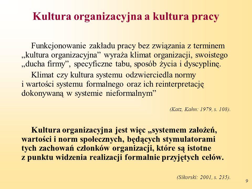 """9 Kultura organizacyjna a kultura pracy Funkcjonowanie zakładu pracy bez związania z terminem """"kultura organizacyjna"""" wyraża klimat organizacji, swois"""