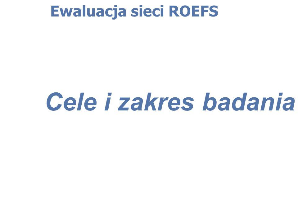 Ewaluacja sieci ROEFS Wyniki badania – ankieta dla koordynatorów ROEFS a/ kwestie proceduralne: sformułowanie wytycznych do konkursu na działalność Ośrodka, które nie zawierały wielu istotnych informacji (doprecyzowanych) b/ kwestie dotyczące standaryzacji: wymagania lokalowe (np.