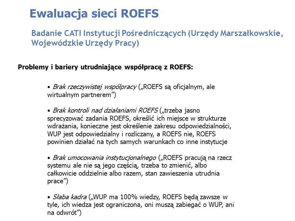Problemy i bariery utrudniające współpracę z ROEFS: Ewaluacja sieci ROEFS Badanie CATI Instytucji Pośredniczących (Urzędy Marszałkowskie, Wojewódzkie
