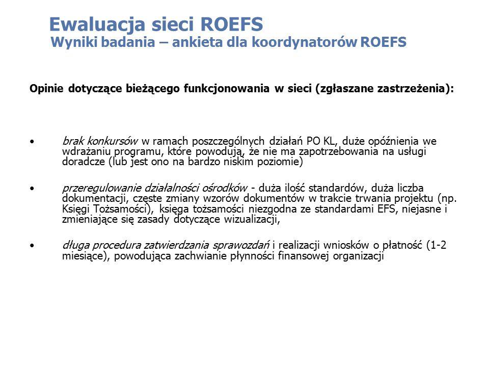 Ewaluacja sieci ROEFS Opinie dotyczące bieżącego funkcjonowania w sieci (zgłaszane zastrzeżenia): brak konkursów w ramach poszczególnych działań PO KL