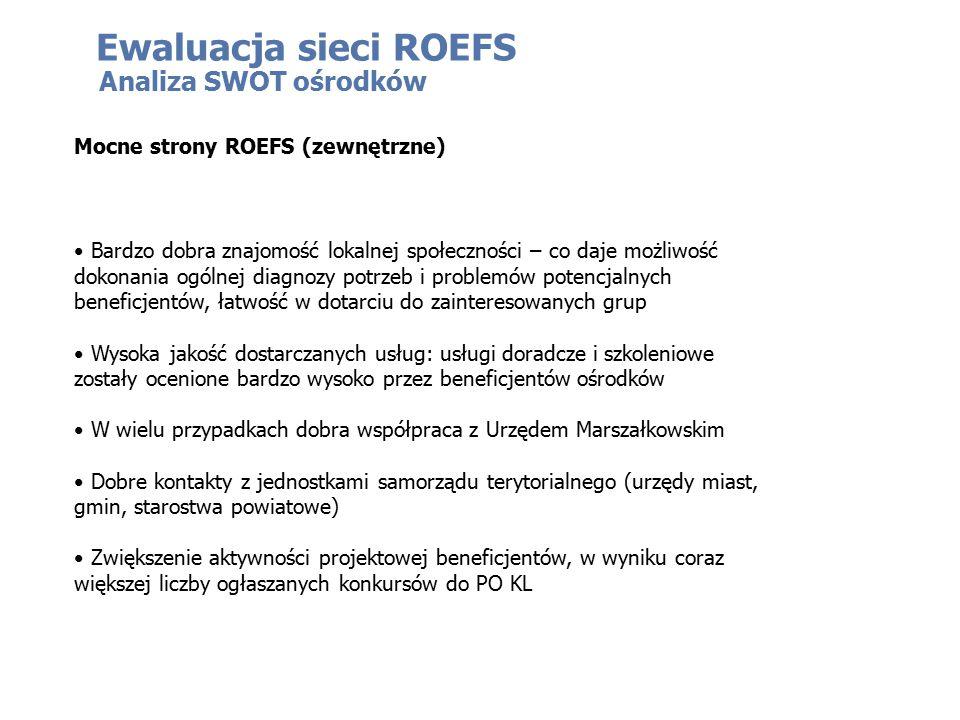 Ewaluacja sieci ROEFS Analiza SWOT ośrodków Mocne strony ROEFS (zewnętrzne) Bardzo dobra znajomość lokalnej społeczności – co daje możliwość dokonania ogólnej diagnozy potrzeb i problemów potencjalnych beneficjentów, łatwość w dotarciu do zainteresowanych grup Wysoka jakość dostarczanych usług: usługi doradcze i szkoleniowe zostały ocenione bardzo wysoko przez beneficjentów ośrodków W wielu przypadkach dobra współpraca z Urzędem Marszałkowskim Dobre kontakty z jednostkami samorządu terytorialnego (urzędy miast, gmin, starostwa powiatowe) Zwiększenie aktywności projektowej beneficjentów, w wyniku coraz większej liczby ogłaszanych konkursów do PO KL