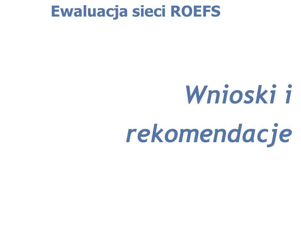 Wnioski i rekomendacje Ewaluacja sieci ROEFS