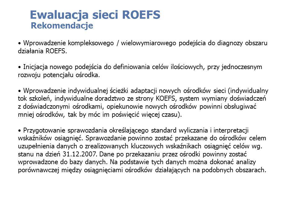 Rekomendacje Wprowadzenie kompleksowego / wielowymiarowego podejścia do diagnozy obszaru działania ROEFS. Inicjacja nowego podejścia do definiowania c