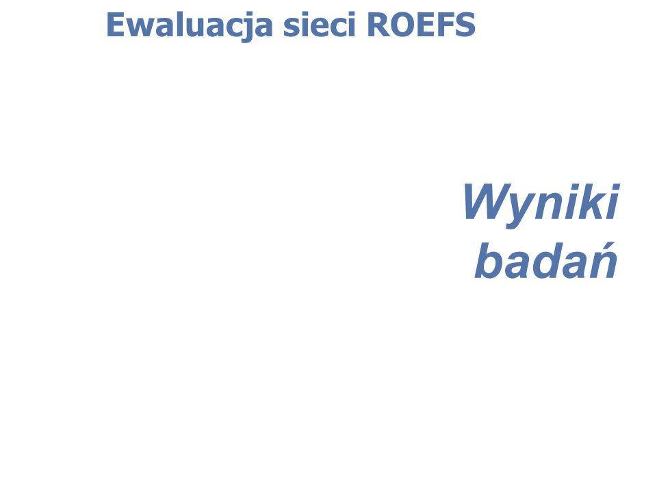 Wyniki badań Ewaluacja sieci ROEFS