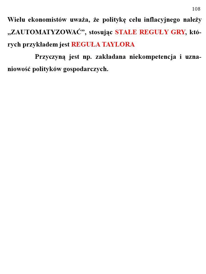 107 POLITYKA CELU INFLACYJNEGO ma zaletę w postaci obli- czalnosci.