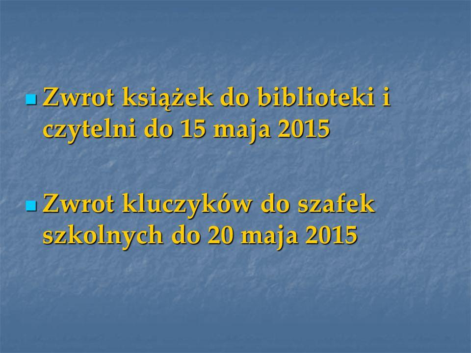 Zwrot książek do biblioteki i czytelni do 15 maja 2015 Zwrot książek do biblioteki i czytelni do 15 maja 2015 Zwrot kluczyków do szafek szkolnych do 20 maja 2015 Zwrot kluczyków do szafek szkolnych do 20 maja 2015