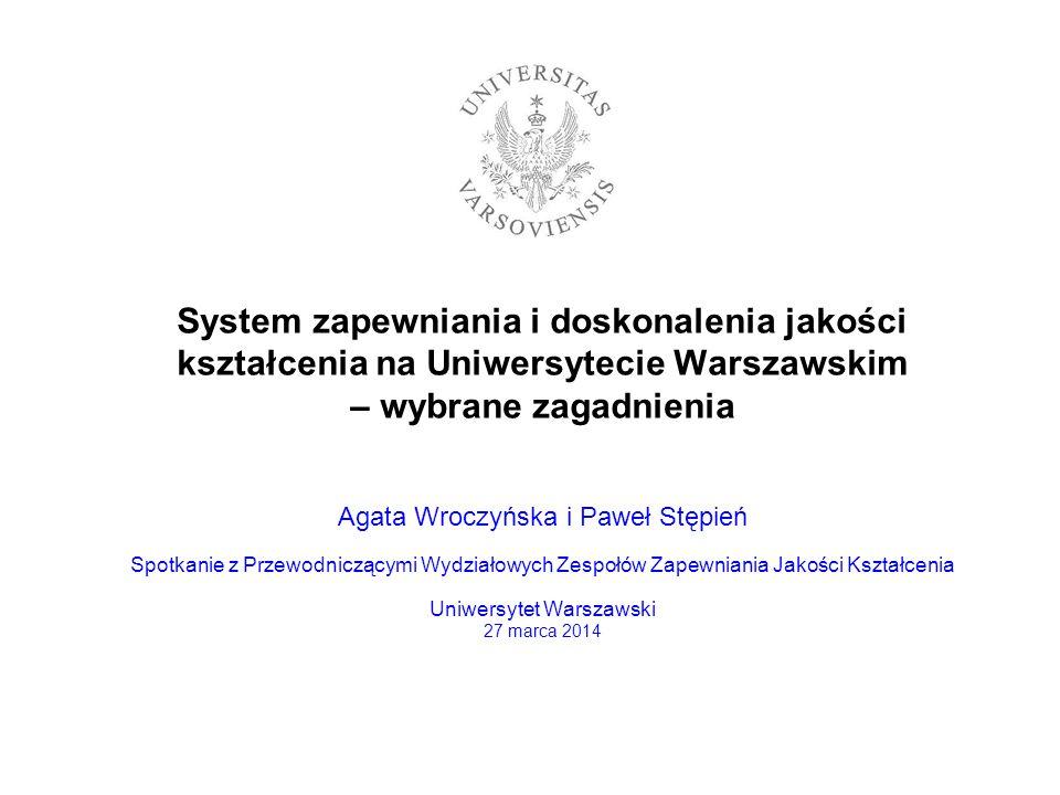 System zapewniania i doskonalenia jakości kształcenia na Uniwersytecie Warszawskim – wybrane zagadnienia Agata Wroczyńska i Paweł Stępień Spotkanie z