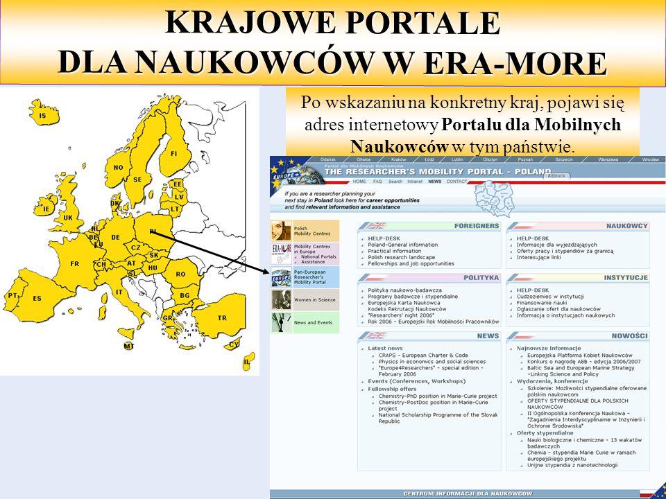 KRAJOWE PORTALE DLA NAUKOWCÓW W ERA-MORE Po wskazaniu na konkretny kraj, pojawi się adres internetowy Portalu dla Mobilnych Naukowców w tym państwie.