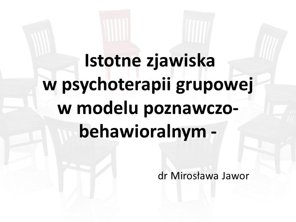 Istotne zjawiska w psychoterapii grupowej w modelu poznawczo- behawioralnym - dr Mirosława Jawor