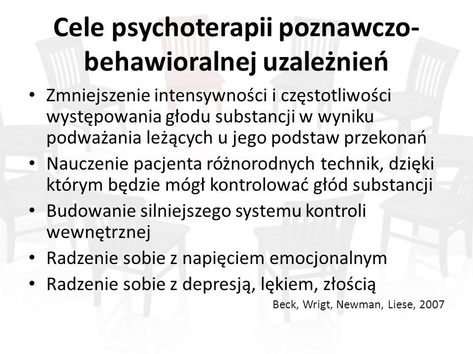 Cele psychoterapii poznawczo- behawioralnej uzależnień Zmniejszenie intensywności i częstotliwości występowania głodu substancji w wyniku podważania l