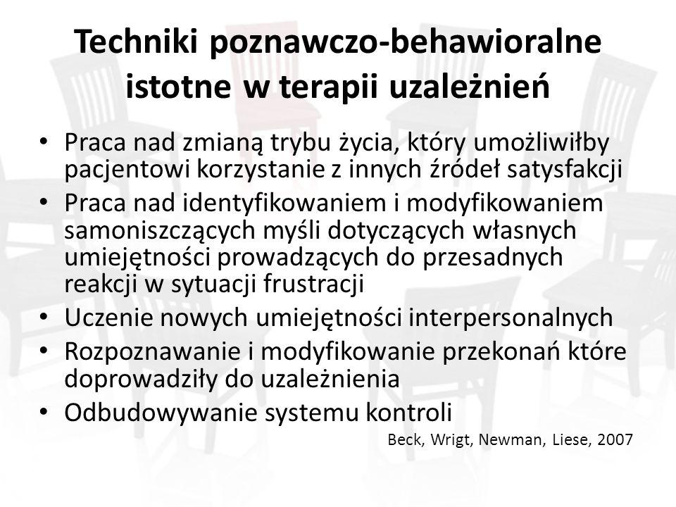 Techniki poznawczo-behawioralne istotne w terapii uzależnień Praca nad zmianą trybu życia, który umożliwiłby pacjentowi korzystanie z innych źródeł satysfakcji Praca nad identyfikowaniem i modyfikowaniem samoniszczących myśli dotyczących własnych umiejętności prowadzących do przesadnych reakcji w sytuacji frustracji Uczenie nowych umiejętności interpersonalnych Rozpoznawanie i modyfikowanie przekonań które doprowadziły do uzależnienia Odbudowywanie systemu kontroli Beck, Wrigt, Newman, Liese, 2007