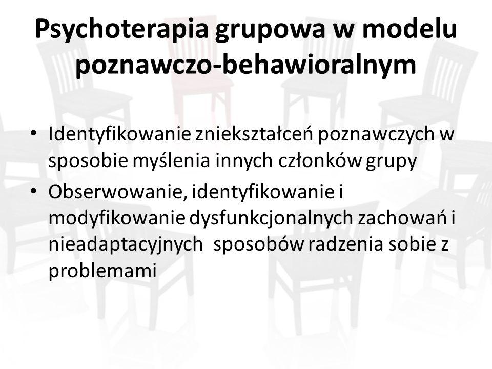 Psychoterapia grupowa w modelu poznawczo-behawioralnym Identyfikowanie zniekształceń poznawczych w sposobie myślenia innych członków grupy Obserwowanie, identyfikowanie i modyfikowanie dysfunkcjonalnych zachowań i nieadaptacyjnych sposobów radzenia sobie z problemami