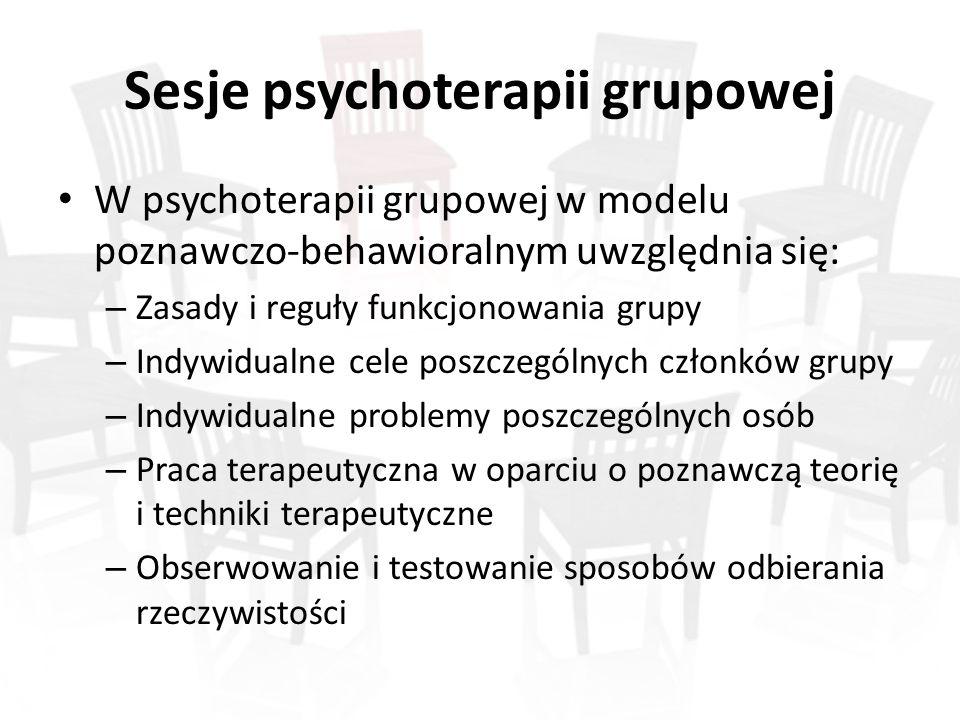 Sesje psychoterapii grupowej W psychoterapii grupowej w modelu poznawczo-behawioralnym uwzględnia się: – Zasady i reguły funkcjonowania grupy – Indywidualne cele poszczególnych członków grupy – Indywidualne problemy poszczególnych osób – Praca terapeutyczna w oparciu o poznawczą teorię i techniki terapeutyczne – Obserwowanie i testowanie sposobów odbierania rzeczywistości