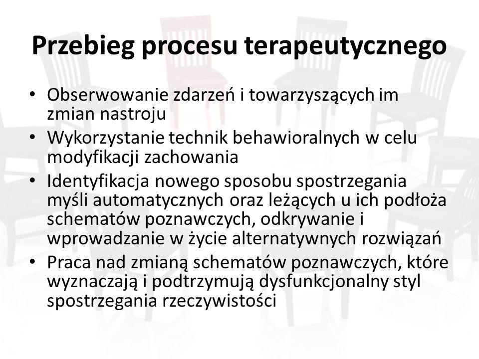 Przebieg procesu terapeutycznego Obserwowanie zdarzeń i towarzyszących im zmian nastroju Wykorzystanie technik behawioralnych w celu modyfikacji zacho