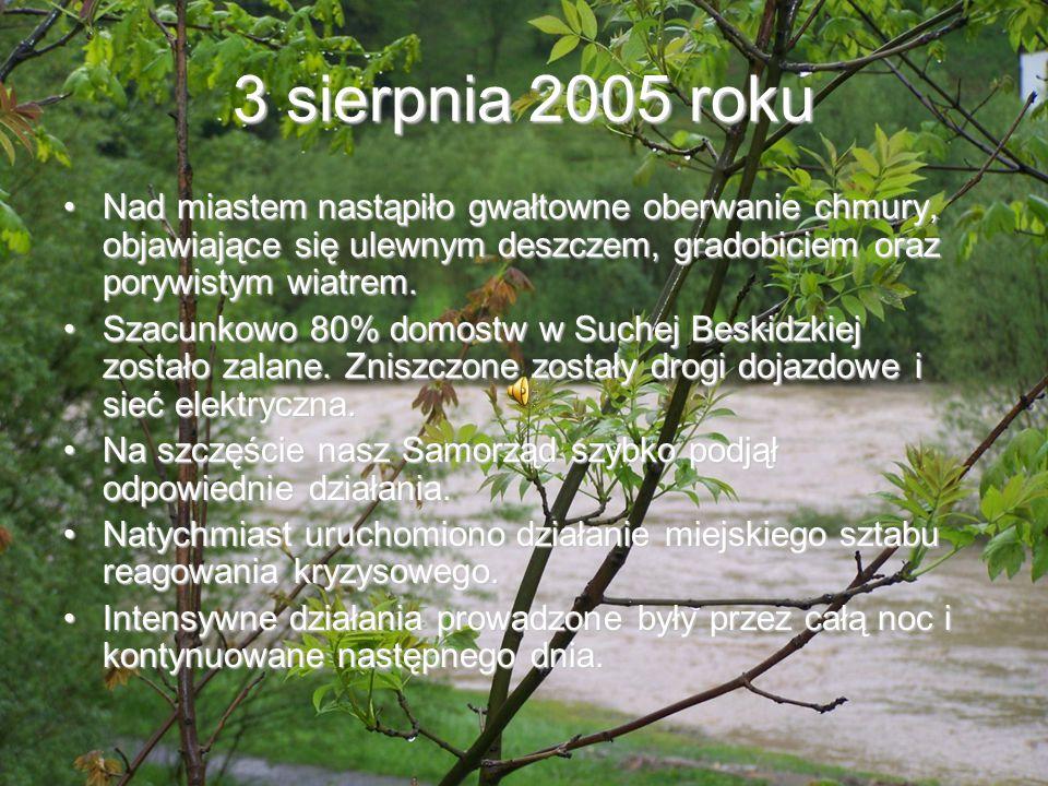 3 sierpnia 2005 roku Nad miastem nastąpiło gwałtowne oberwanie chmury, objawiające się ulewnym deszczem, gradobiciem oraz porywistym wiatrem.Nad miast