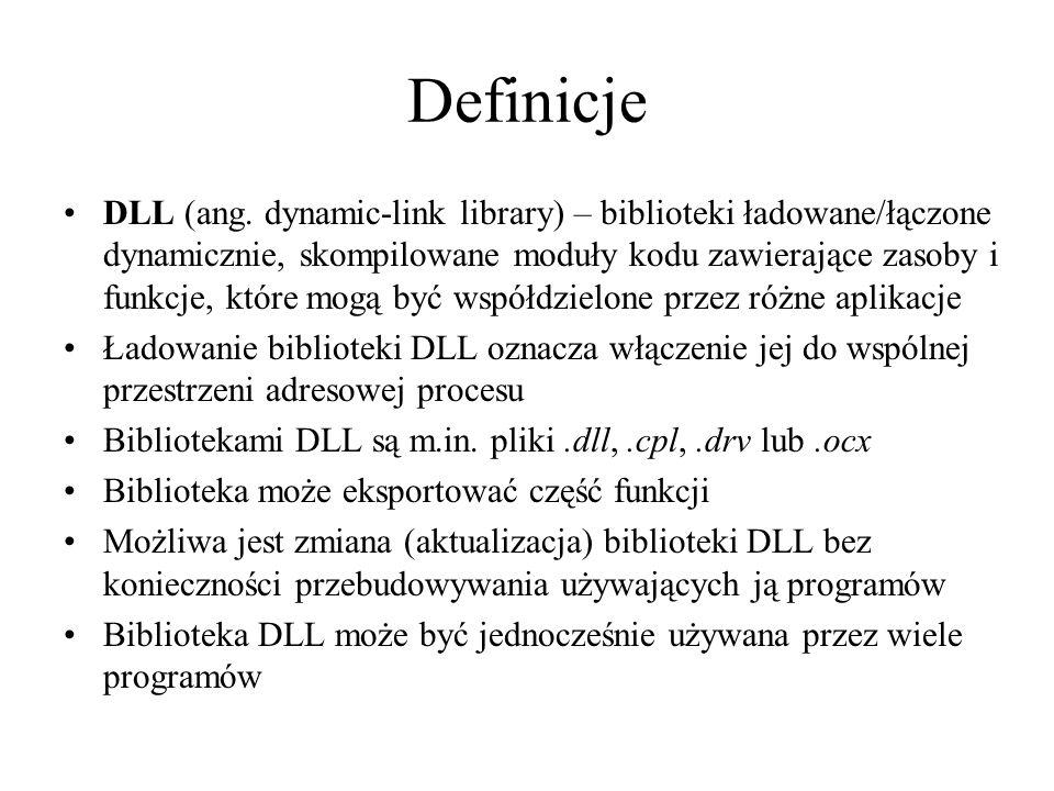 Zalety bibliotek DLL Modularność – bezpieczeństwo, także ułatwia aktualizację Współdzielenie kodu między aplikacjami, także jednocześnie (zob.
