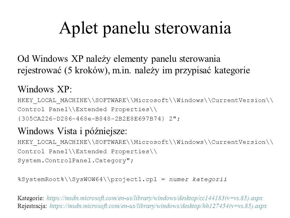 Aplet panelu sterowania Od Windows XP należy elementy panelu sterowania rejestrować (5 kroków), m.in.