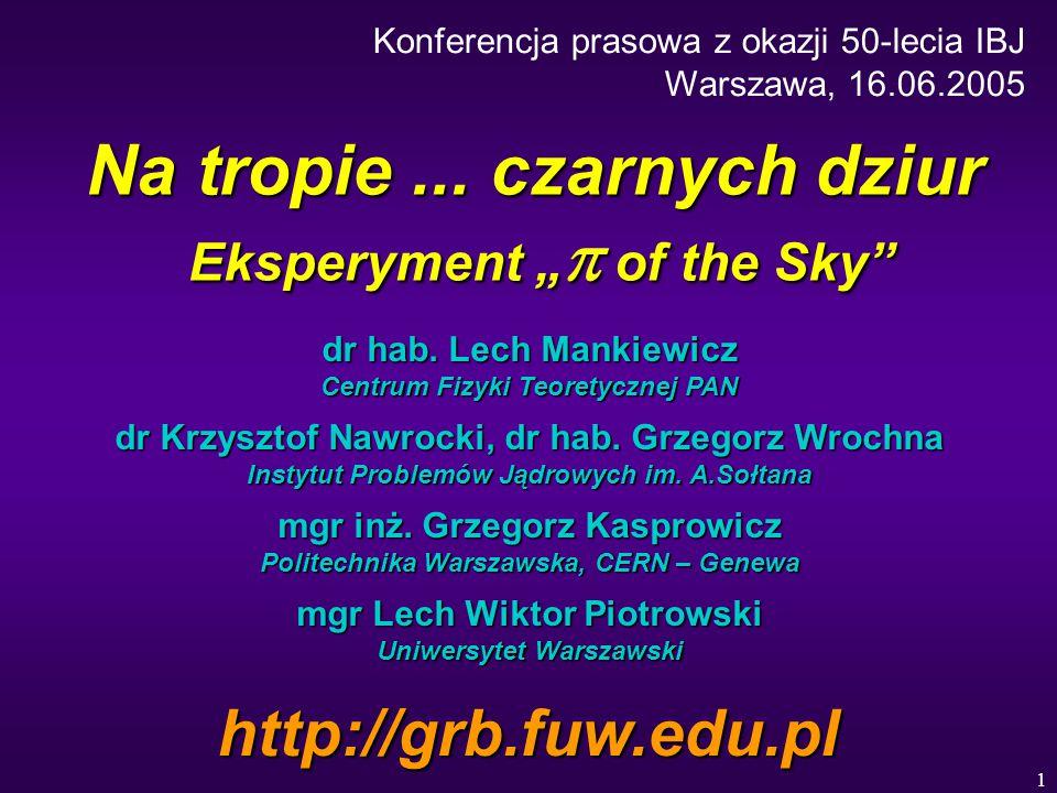 """1 Na tropie... czarnych dziur Eksperyment """"  of the Sky"""" dr hab. Lech Mankiewicz Centrum Fizyki Teoretycznej PAN dr Krzysztof Nawrocki, dr hab. Grzeg"""
