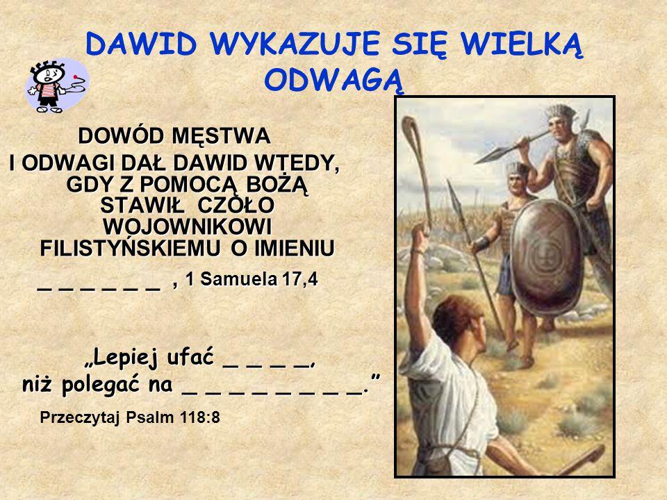 Dawid i Mefiboszet Saul _ _ _ _ _ _ _ _ _ _ _ _ _ _ _ Dzieci, miłujmy nie słowem ani językiem, Dzieci, miłujmy nie słowem ani językiem, lecz czynem i prawdą. 1 Jana 3:18 lecz czynem i prawdą. 1 Jana 3:18 Dlaczego Dawid okazał dobroć Dlaczego Dawid okazał dobroć wnukowi Saula.