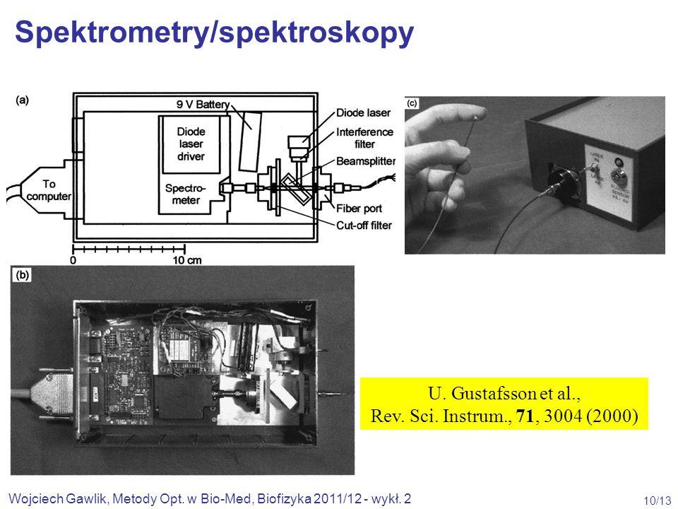 Wojciech Gawlik, Metody Opt. w Bio-Med, Biofizyka 2011/12 - wykł. 2 10/13 U. Gustafsson et al., Rev. Sci. Instrum., 71, 3004 (2000) Spektrometry/spekt