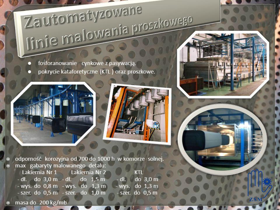  odporność korozyjna od 700 do 1000 h w komorze solnej.  max gabaryty malowanego detalu: Lakiernia Nr 1 Lakiernia Nr 2 KTL - dł.do 3,0 m- dł. do 1,5