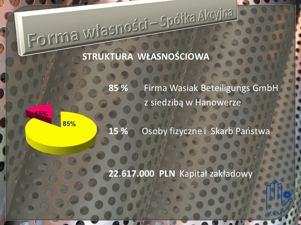 STRUKTURA WŁASNOŚCIOWA 85 % Firma Wasiak Beteiligungs GmbH z siedzibą w Hanowerze 15 % Osoby fizyczne i Skarb Państwa 22.617.000 PLN Kapitał zakładowy