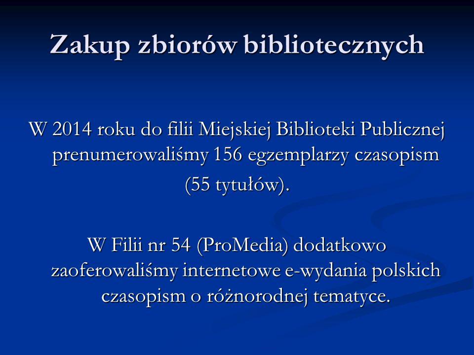 Zakup zbiorów bibliotecznych W 2014 roku do filii Miejskiej Biblioteki Publicznej prenumerowaliśmy 156 egzemplarzy czasopism (55 tytułów).