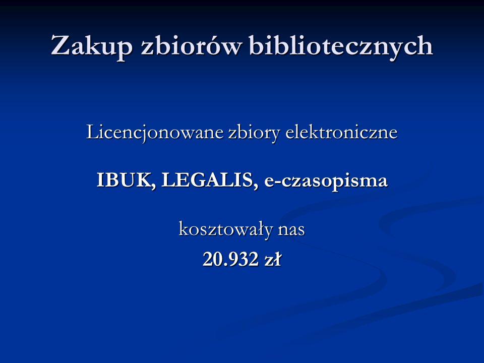 Zakup zbiorów bibliotecznych Licencjonowane zbiory elektroniczne IBUK, LEGALIS, e-czasopisma kosztowały nas 20.932 zł