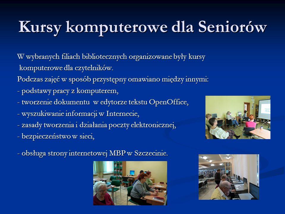 Kursy komputerowe dla Seniorów W wybranych filiach bibliotecznych organizowane były kursy komputerowe dla czytelników.