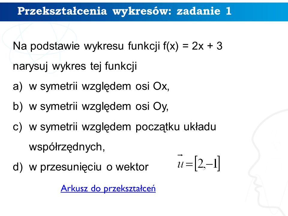 11 Na podstawie wykresu funkcji f(x) = 2x + 3 narysuj wykres tej funkcji a)w symetrii względem osi Ox, b)w symetrii względem osi Oy, c)w symetrii względem początku układu współrzędnych, d)w przesunięciu o wektor Przekształcenia wykresów: zadanie 1 Arkusz do przekształceń