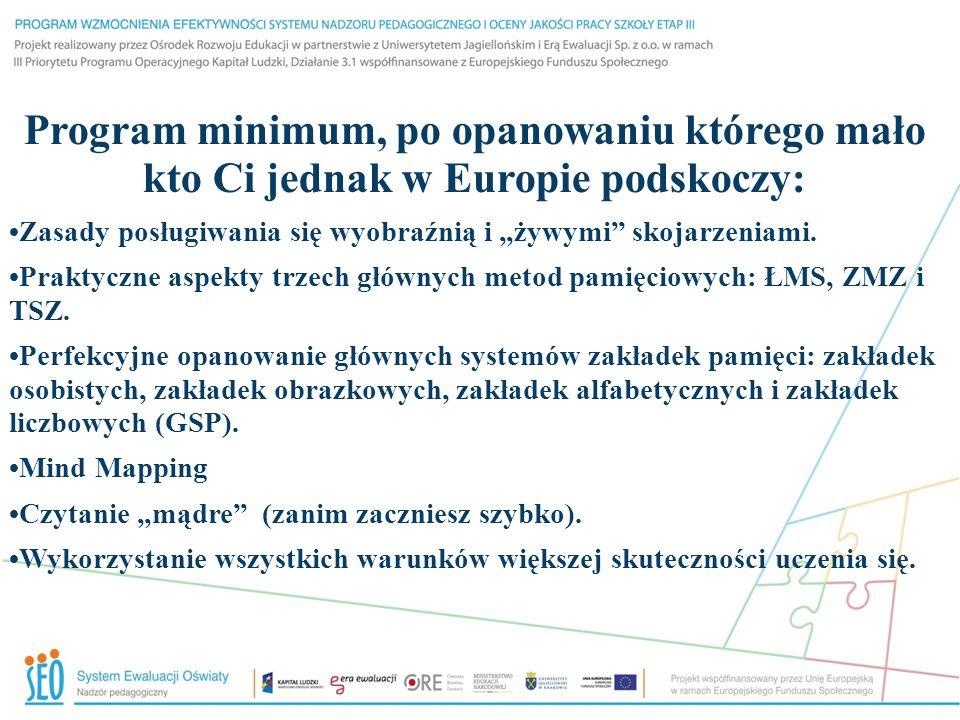 """Program minimum, po opanowaniu którego mało kto Ci jednak w Europie podskoczy: Zasady posługiwania się wyobraźnią i """"żywymi"""" skojarzeniami. Praktyczne"""