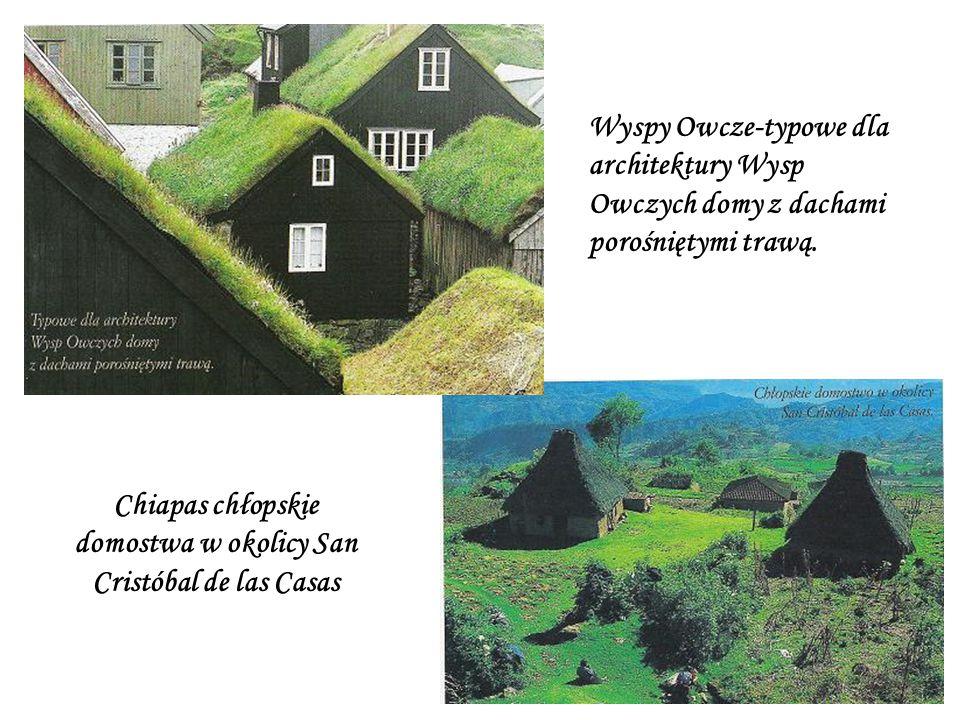 Wyspy Owcze-typowe dla architektury Wysp Owczych domy z dachami porośniętymi trawą.