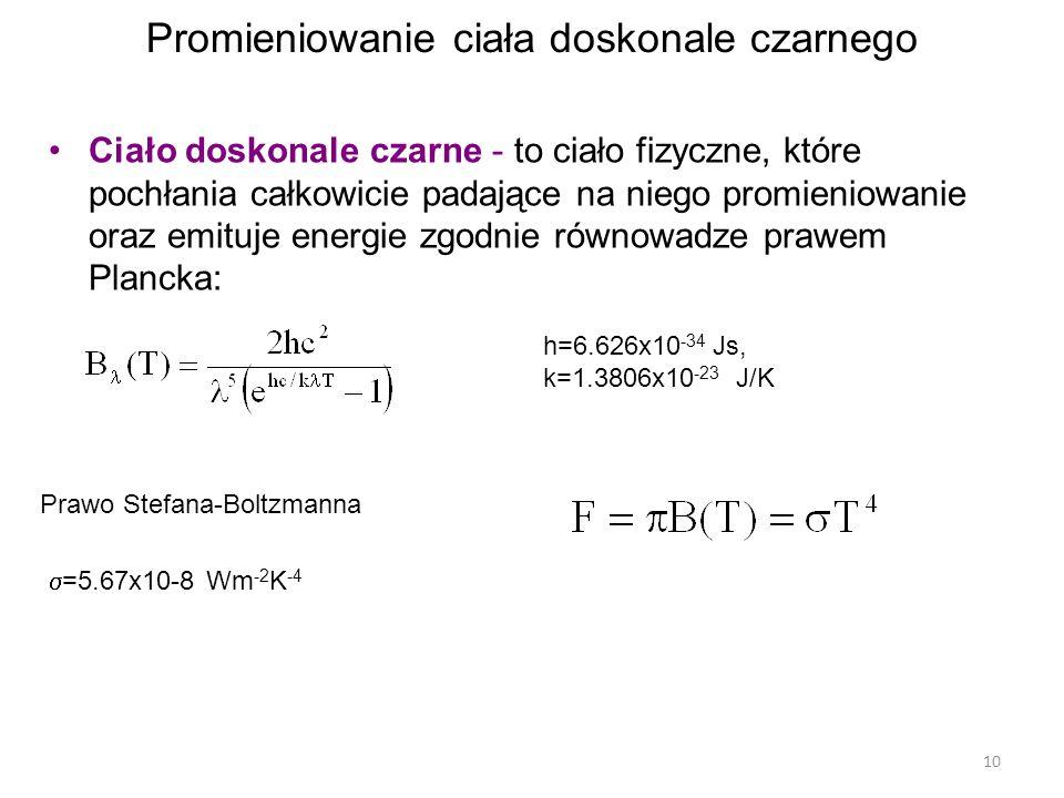 10 Promieniowanie ciała doskonale czarnego Ciało doskonale czarne - to ciało fizyczne, które pochłania całkowicie padające na niego promieniowanie oraz emituje energie zgodnie równowadze prawem Plancka: h=6.626x10 -34 Js, k=1.3806x10 -23 J/K Prawo Stefana-Boltzmanna  =5.67x10-8 Wm -2 K -4