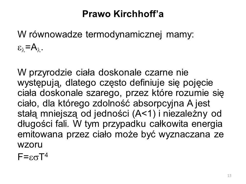 13 Prawo Kirchhoff'a W równowadze termodynamicznej mamy:  =A.