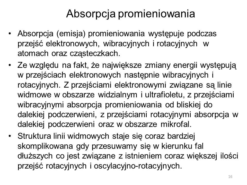 Absorpcja (emisja) promieniowania występuje podczas przejść elektronowych, wibracyjnych i rotacyjnych w atomach oraz cząsteczkach.