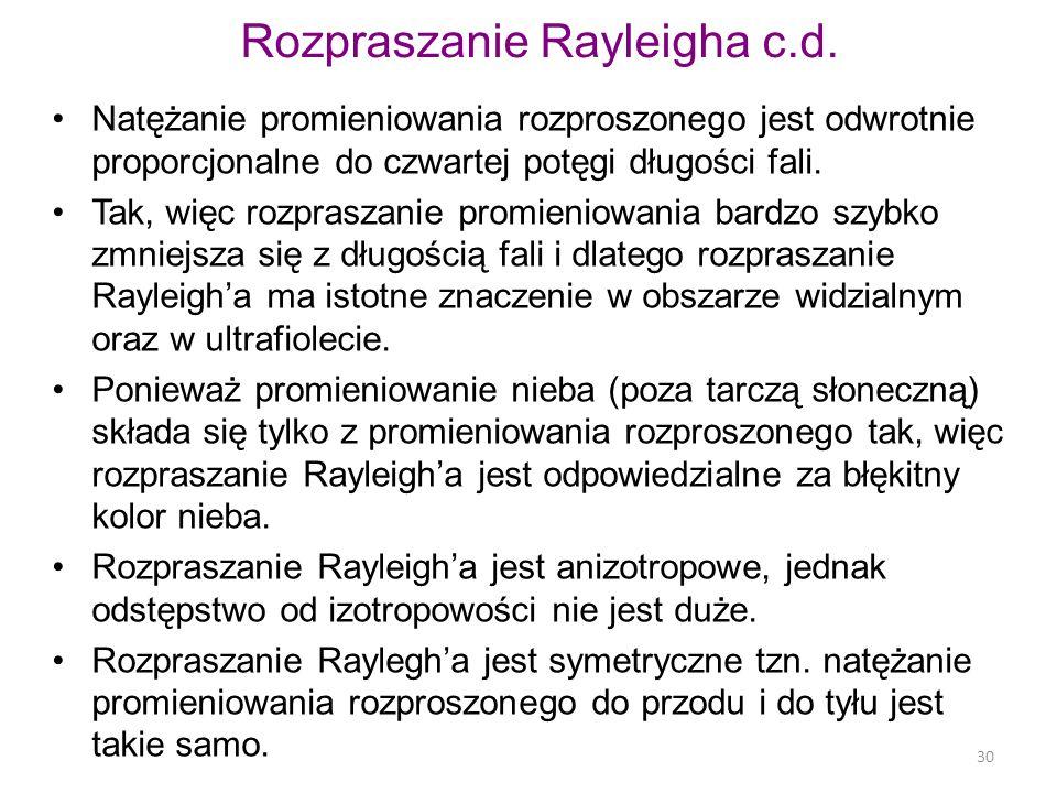 Rozpraszanie Rayleigha c.d.