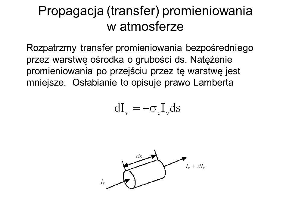 Propagacja (transfer) promieniowania w atmosferze Rozpatrzmy transfer promieniowania bezpośredniego przez warstwę ośrodka o grubości ds.