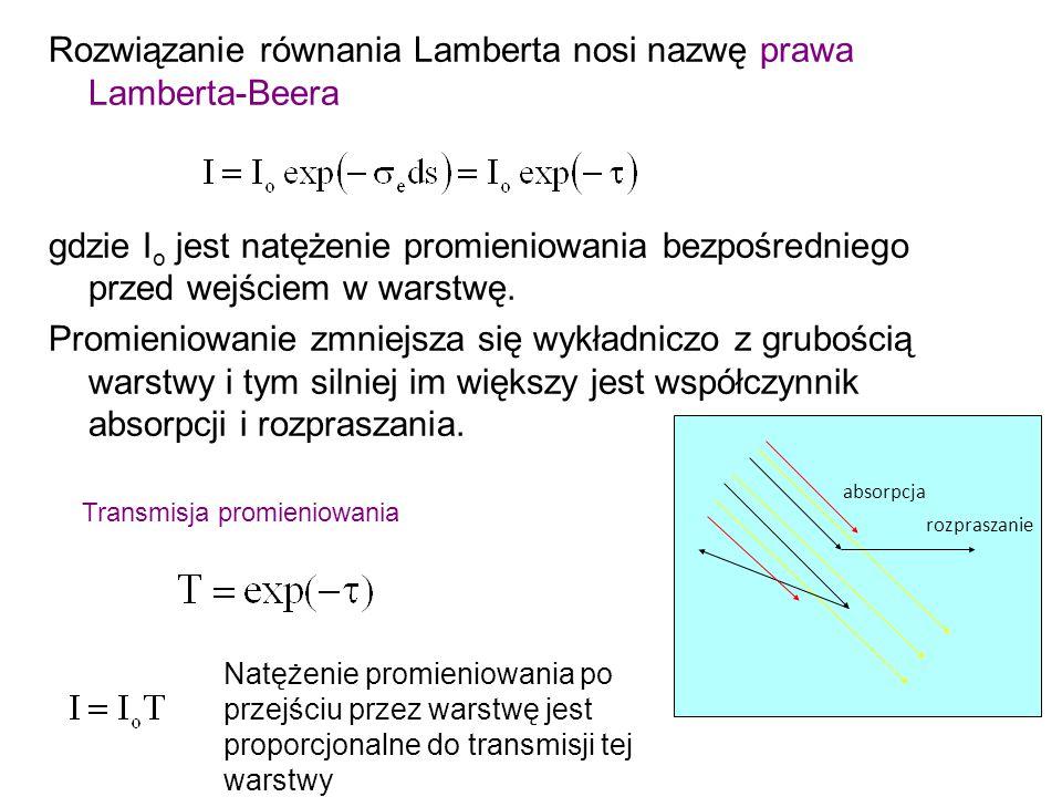 Rozwiązanie równania Lamberta nosi nazwę prawa Lamberta-Beera gdzie I o jest natężenie promieniowania bezpośredniego przed wejściem w warstwę.